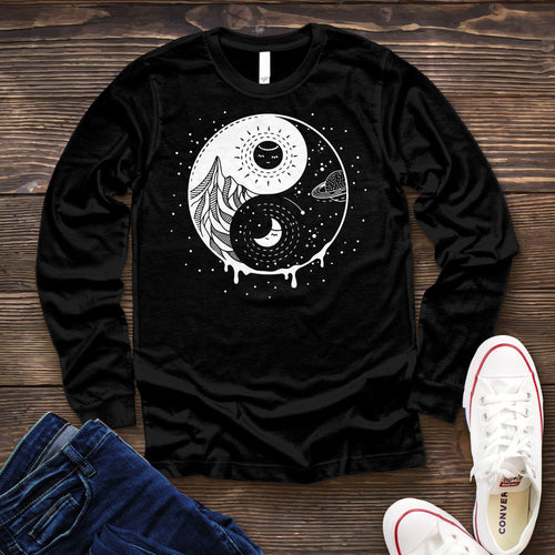 Ying and Yang Long Sleeve Tee Long-sleeve Printify Solid Black L
