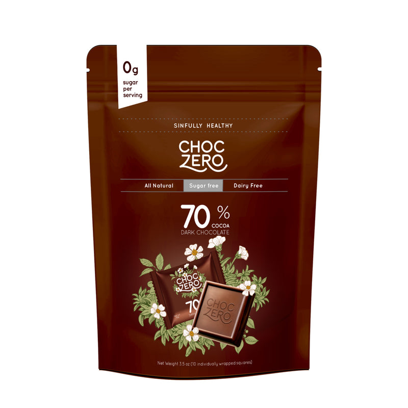 촉제로 무설탕 다크 초콜릿 70% 3.5oz - ChocZero 70% Dark Chocolate Squares 3.5oz
