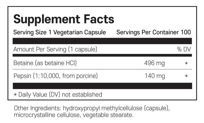 필로소피 염산 HCL 100캡슐 - Philosophy Nutrition Betaine HCL Pepsin 100 cap