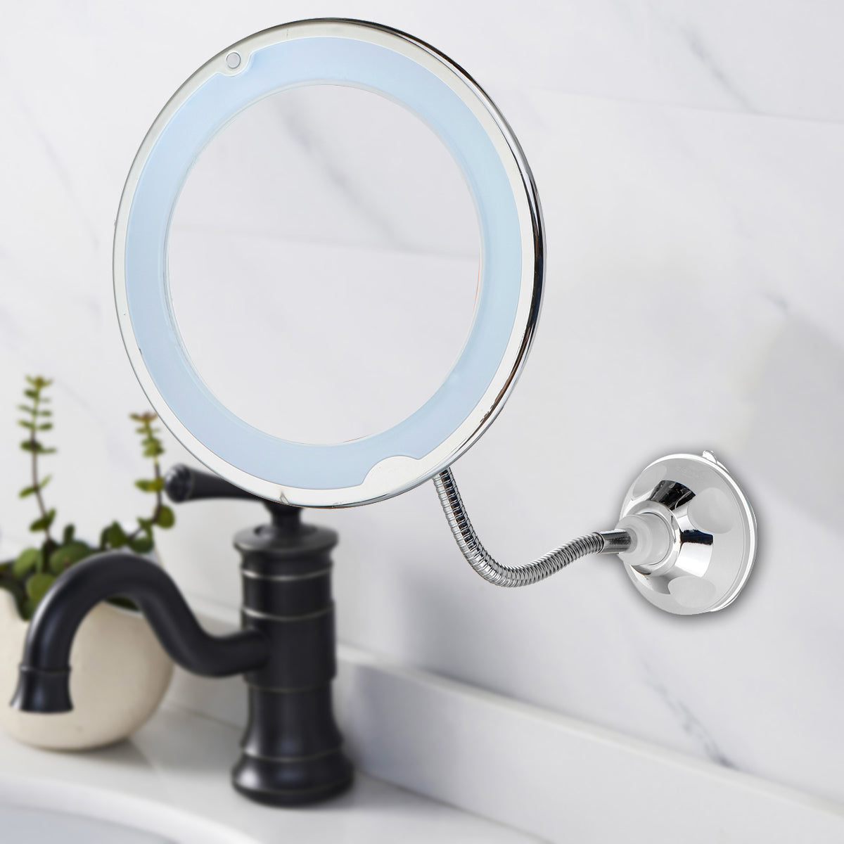 Magic Touches 10X Magnifying Flexible LED Makeup Mirror Light 360 Rotary Super Suction Mirror