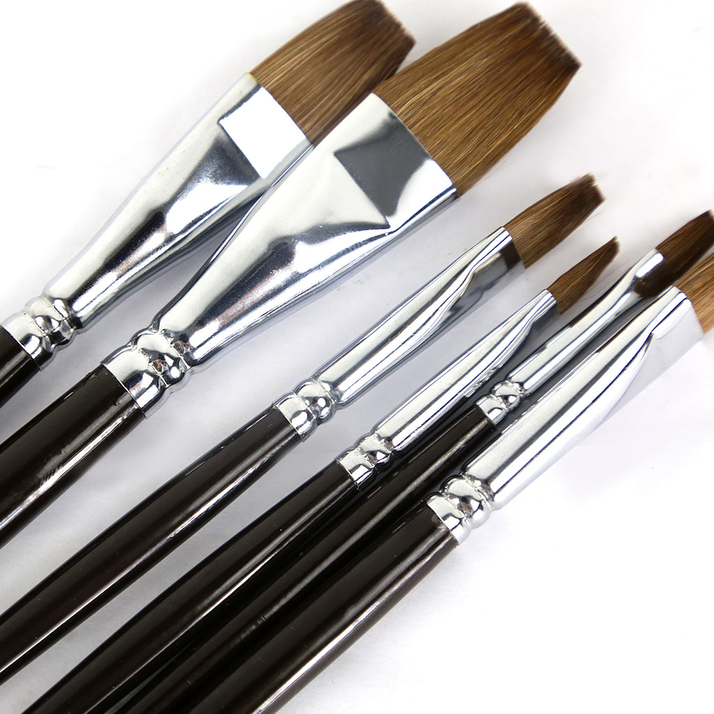Artist Paint Brushes Red Sable (Weasel Hair) Long Handle, Flat Paint Brush Set for Acrylic, Oil, Gouache and Watercolor Painting Offering Excellent Paint Holding and Easy Flow of Paint