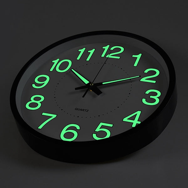 12 Inch Luminous Wall Clock Glow In The Dark Silent Quartz Indoor/Outdoor Green Noctilucent""