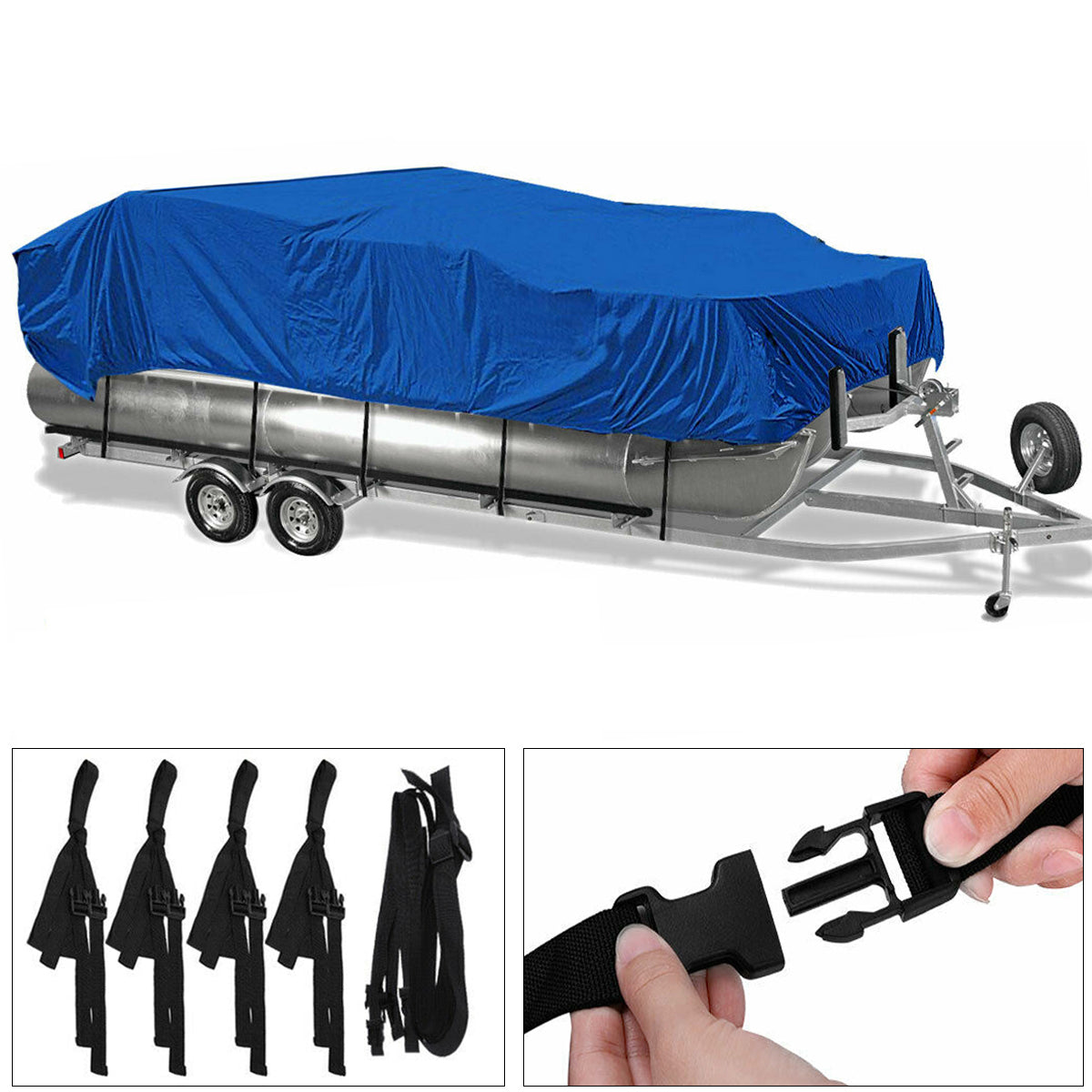 17-20Ft / 21-24Ft Heavy Duty 210D Waterproof Pontoon Boat Cover Fish Ski Beam
