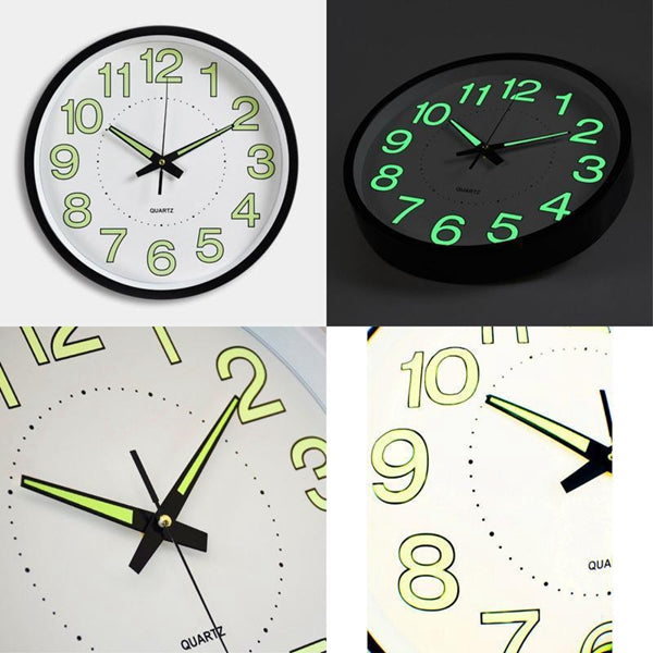 12 Inch Luminous Wall Clock Glow In The Dark Silent Quartz Indoor/Outdoor Green Noctilucent