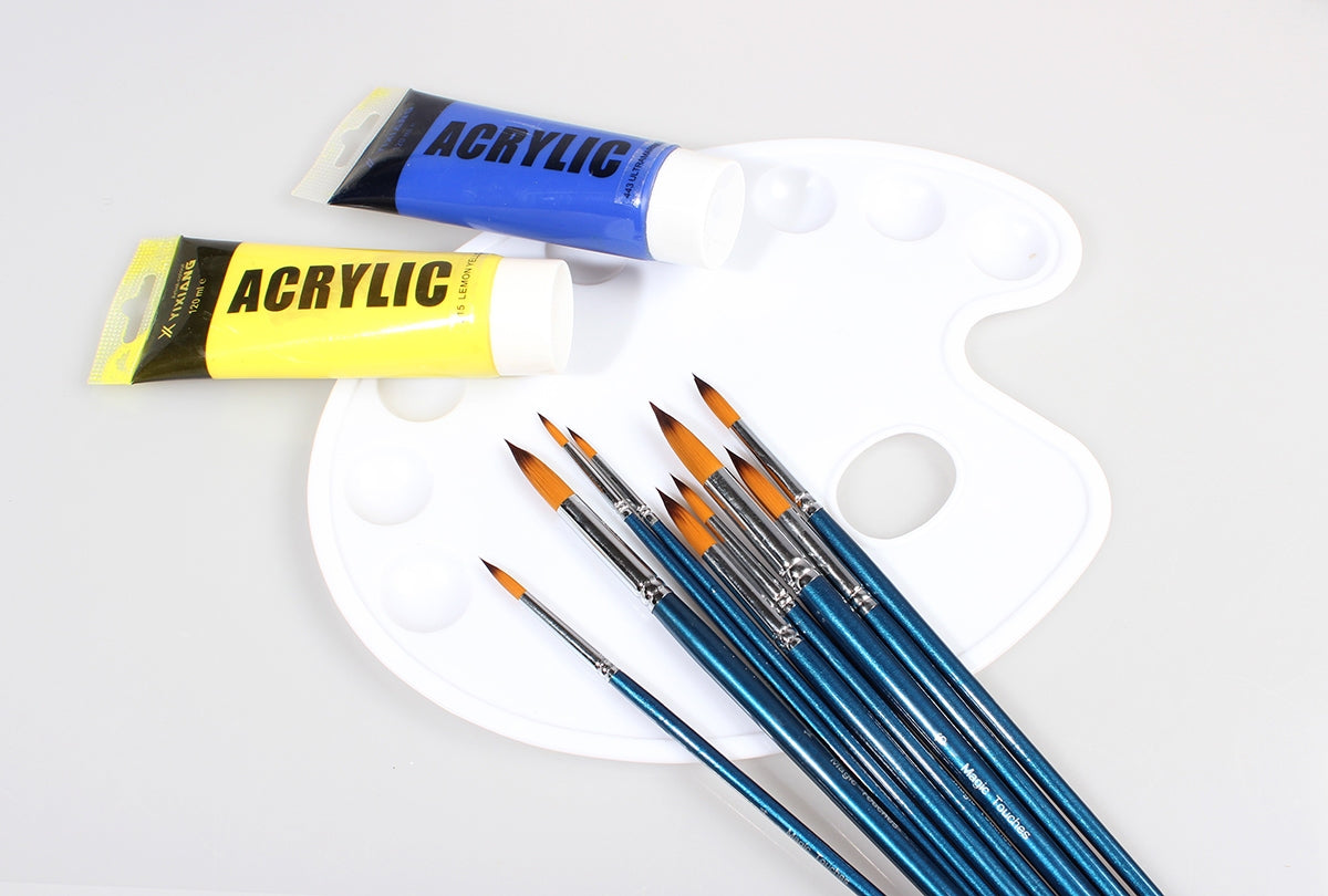 Magic Touches Artist Paint Brushes Professional Quality Golden Nylon Round Paint Brushes for Watercolor, Acrylic and Oil Painting