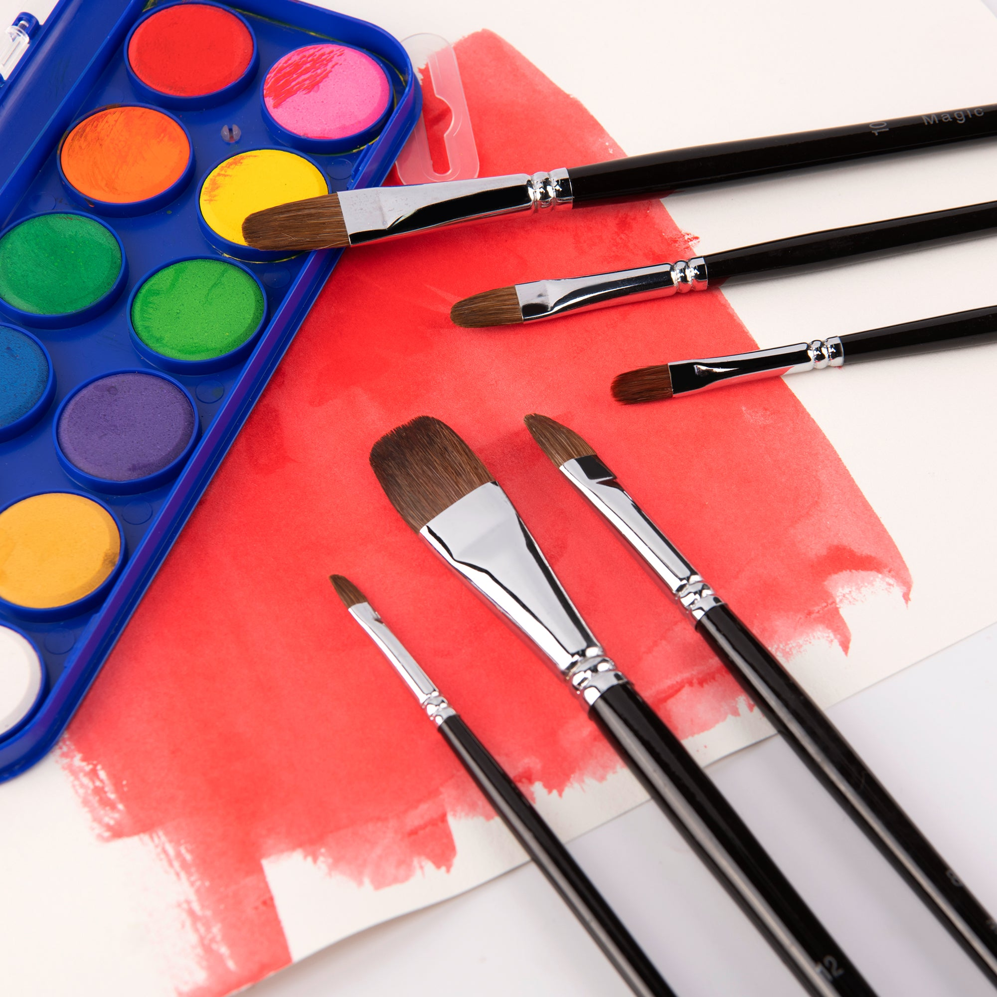 Magic Touches Artist Paint Brushes Red Sable (Weasel Hair) , Filbert Paint Brush Set for Acrylic, Oil, Gouche and Watercolor Painting