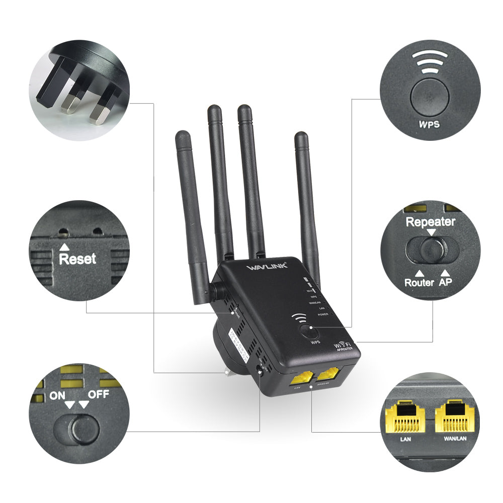 Dual Band 4x3dBi External Antennas Wireless WIFI Repeater Router