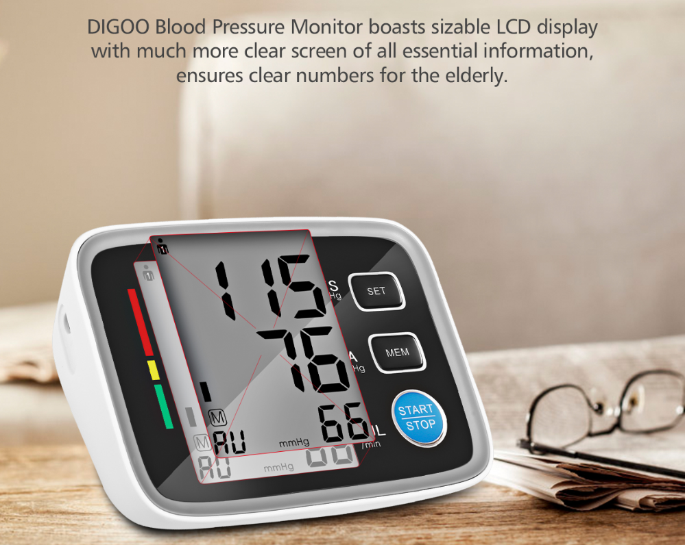 Blood Pressure Monitor Heart Rate Monitor Digital BP Machine w/ Cuff