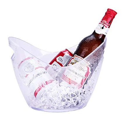 Super Large Bar Ice Bucket  Champagne Wine Bucket Black / Transparent