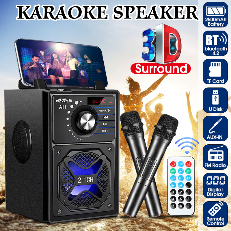 Magic Touches 3D Stereo Karaoke System Speaker with Bluetooth Remote Control Digital Display Shock Bass Hands-free Loudspeaker Built-in Mic