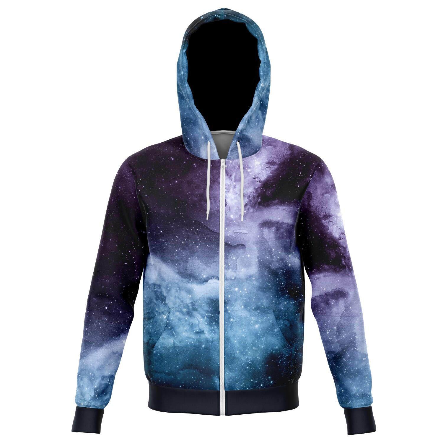 Stardust all over print zip up hoodie unisex - front image