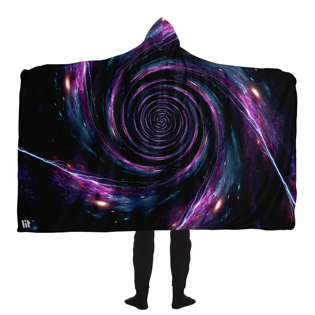 Electric Black Hole Hooded Blanket