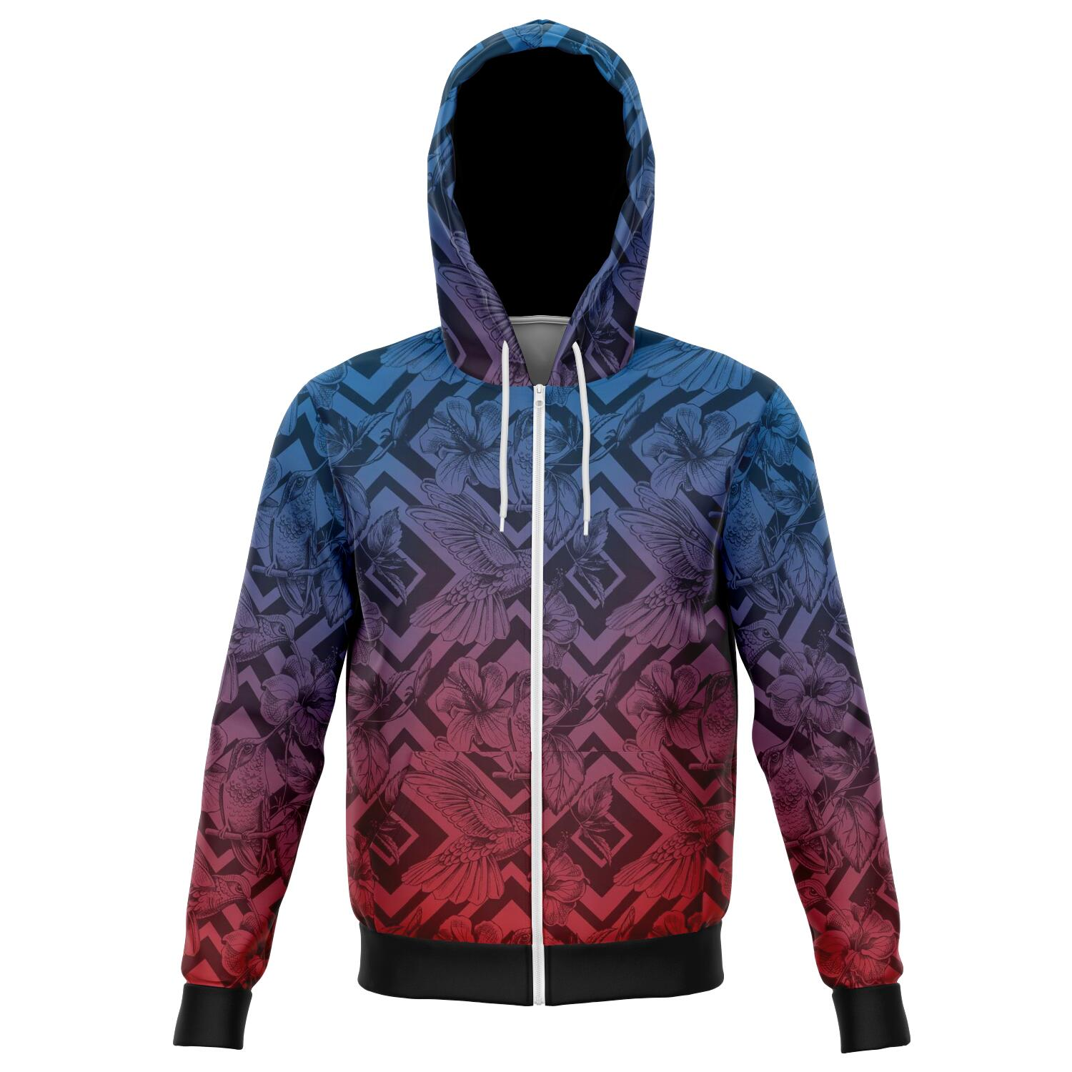 Mockingbird all over print zip up hoodie unisex - front image