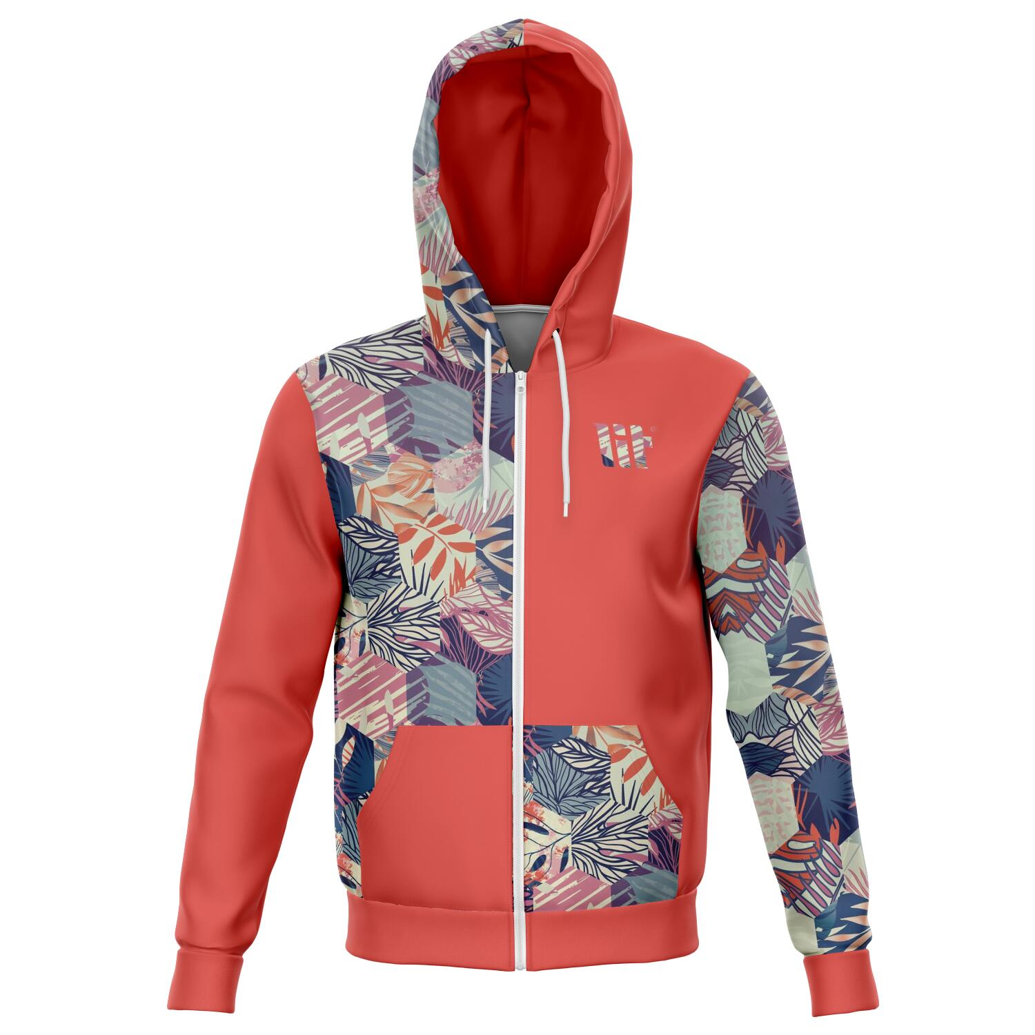 Thrive all over print zip up hoodie unisex - front image