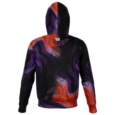 Through the fire all over print zip up hoodie unisex - back image