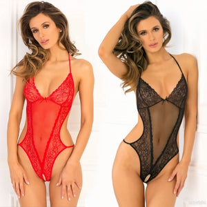 TEDDY CROTCHLESS LACE & MESH