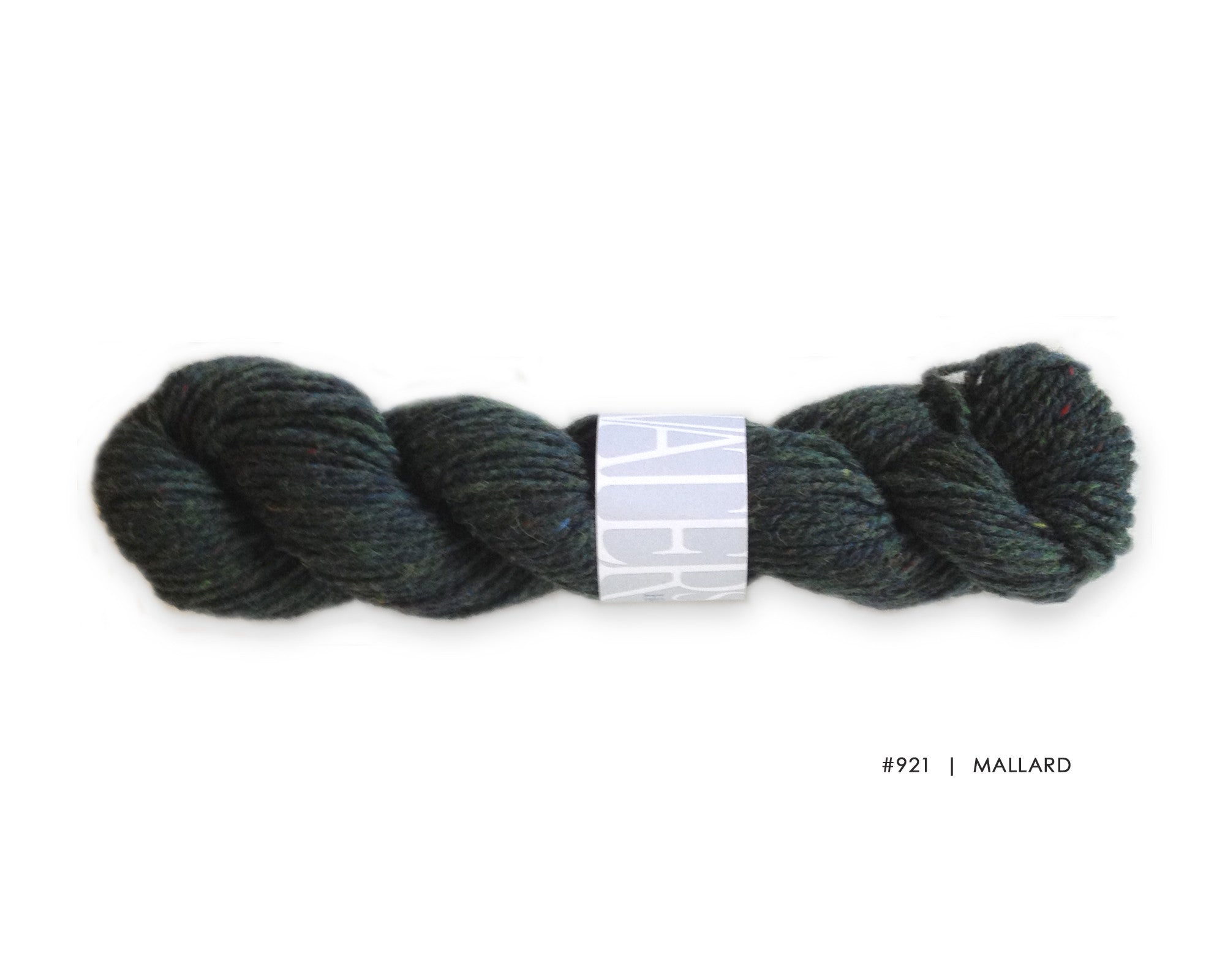 Watershed yarn from Harrisville Designs, worsted weight 100% wool. Soft spun, super heathered, super cushy! Mallard
