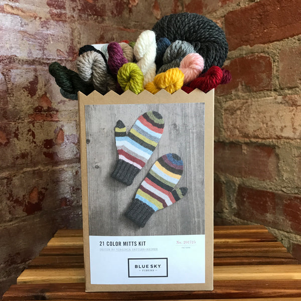 21 Color Mitts Kit from Blue Sky Fibers includes a mini skein of each color of Woolstok and a full skein of gray for the cuffs