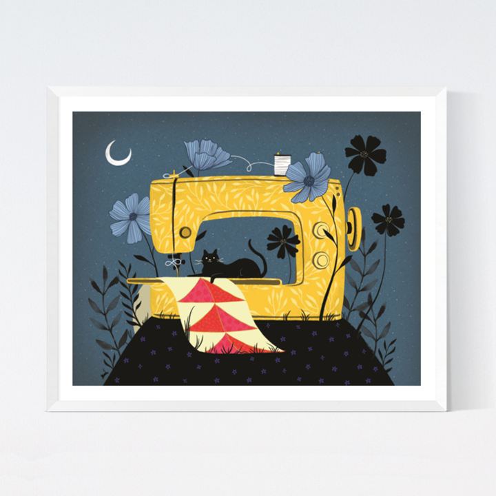Sewing Night Art Print from Crafted Moon by Sarah Watts