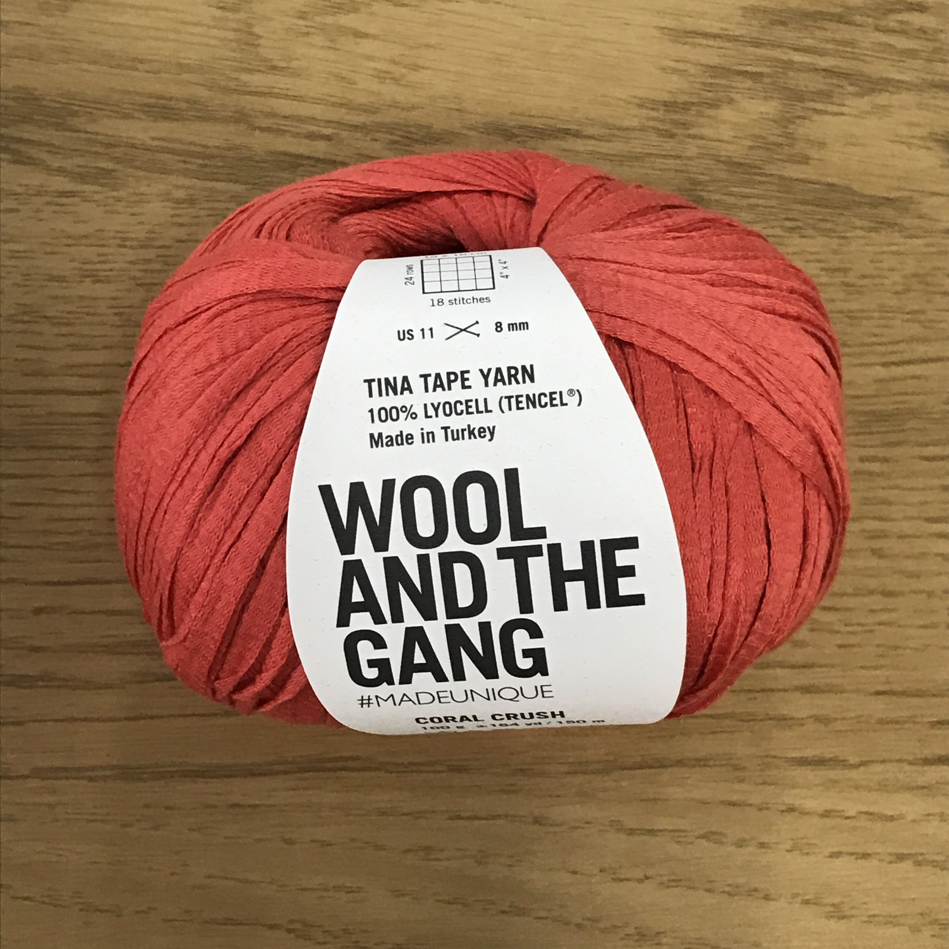 Tina Tape yarn is new from Wool and the Gang! Tencel is sourced from eucalyptus trees, vegan, and good for the environment. Softer than silk and light as air! Coral Crush