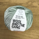 Tina Tape yarn is new from Wool and the Gang! Tencel is sourced from eucalyptus trees, vegan, and good for the environment. Softer than silk and light as air! Eucalyptus Green