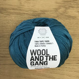 Tina Tape yarn is new from Wool and the Gang! Tencel is sourced from eucalyptus trees, vegan, and good for the environment. Softer than silk and light as air! Quetzal Green