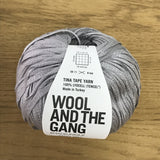 Tina Tape yarn is new from Wool and the Gang! Tencel is sourced from eucalyptus trees, vegan, and good for the environment. Softer than silk and light as air! Rocky Grey