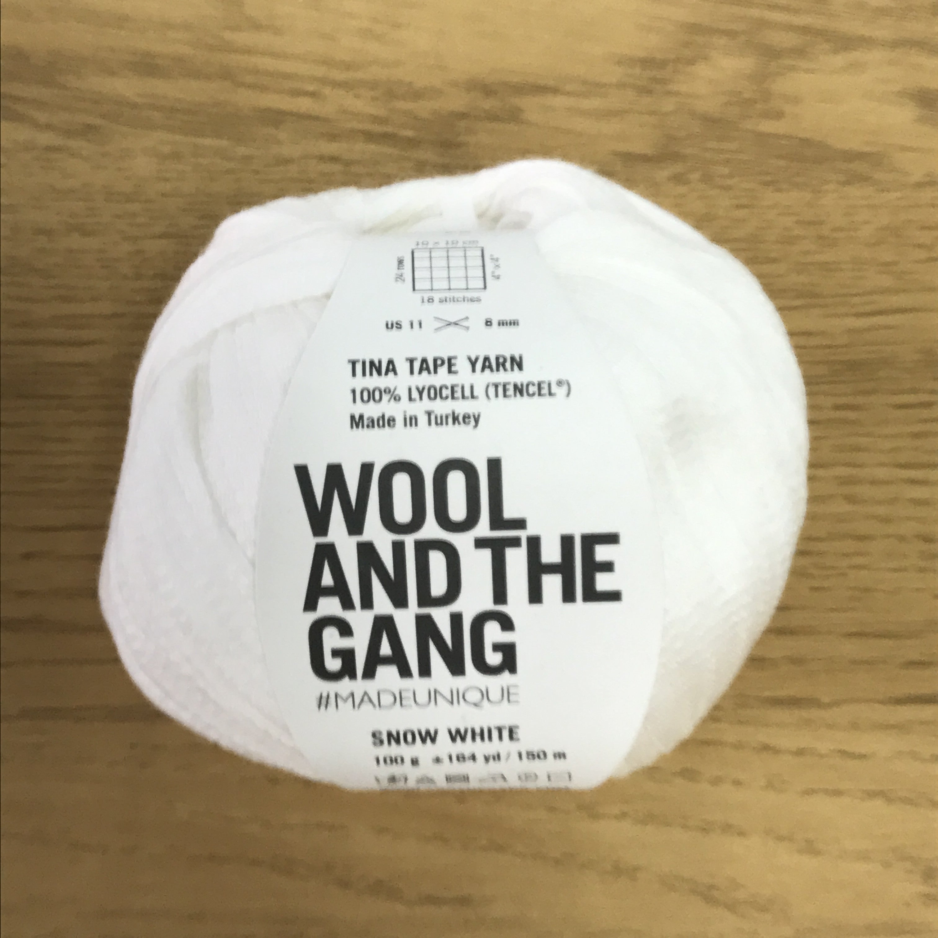 Tina Tape yarn is new from Wool and the Gang! Tencel is sourced from eucalyptus trees, vegan, and good for the environment. Softer than silk and light as air! Snow White