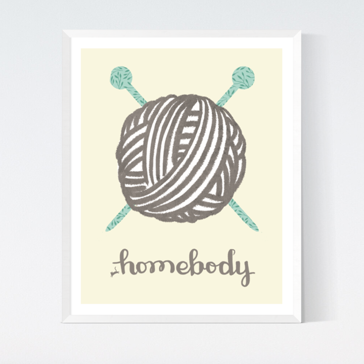 Homebody (Yarn) Art Print from Crafted Moon by Sarah Watts