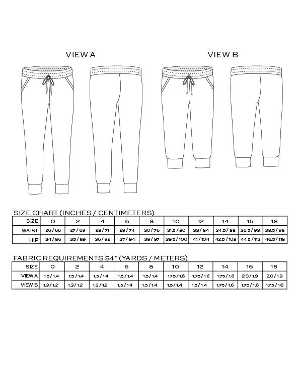 Size chart for Hudson Pant by True Bias