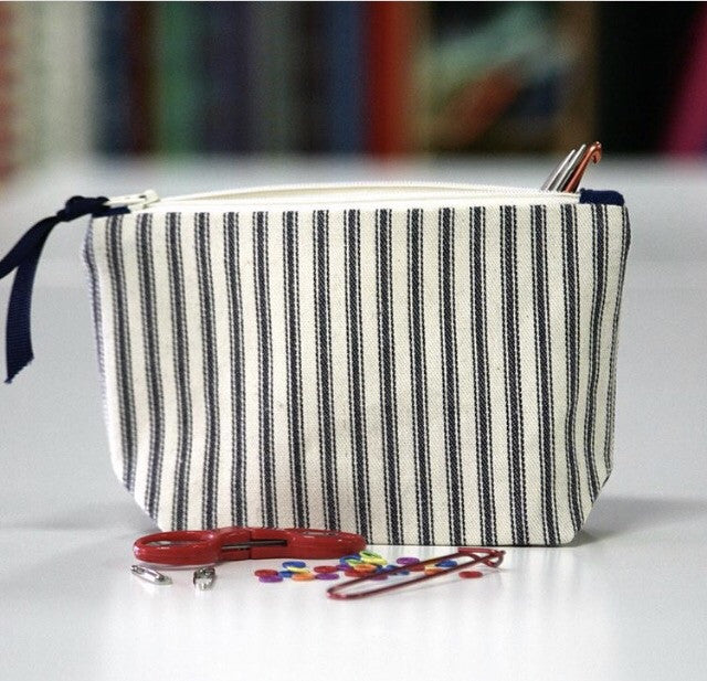 Blue French Ticking Stripe Zip Pouch