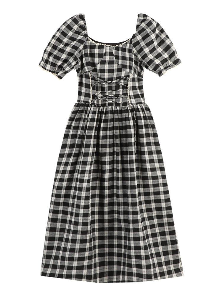 B&W gingham lace up dress