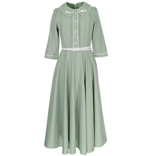 60s style mint full skirt dress (belt included)