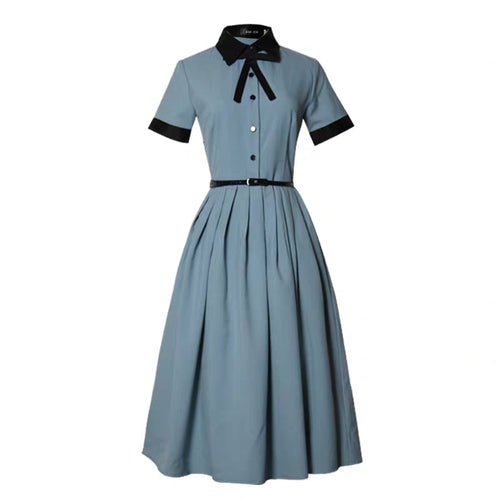 Retro Lake Blue Dress (belt included)