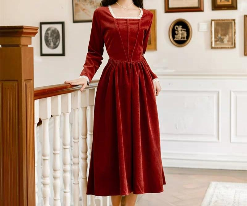Square neck corduroy dress in dark red orange colour