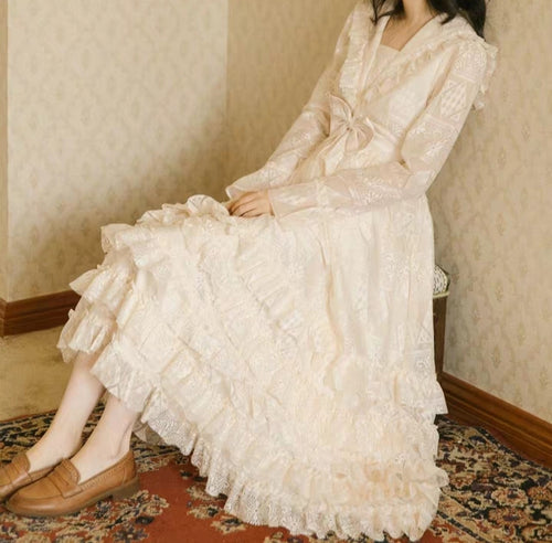 Edwardian Style Lace Ruffle Dress