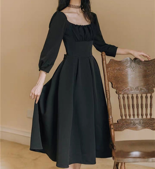 Black long sleeve A-line regency dress
