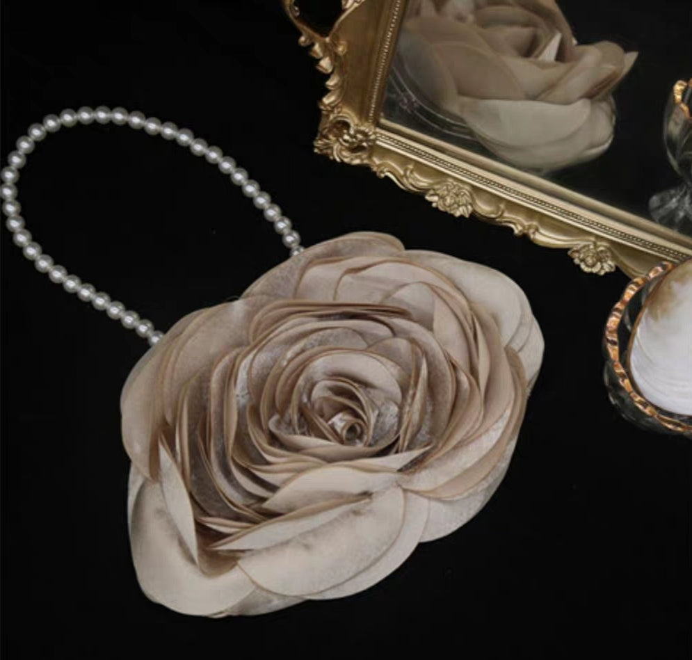 Champagne rose bag with pearl chain