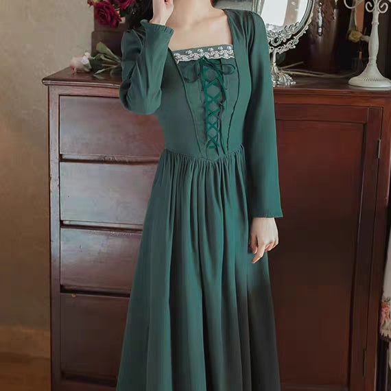 Forest Green Long Sleeve Lace Up Dress