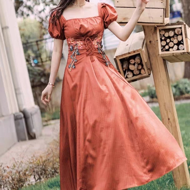 Cinnamon puffy sleeve lace up dress