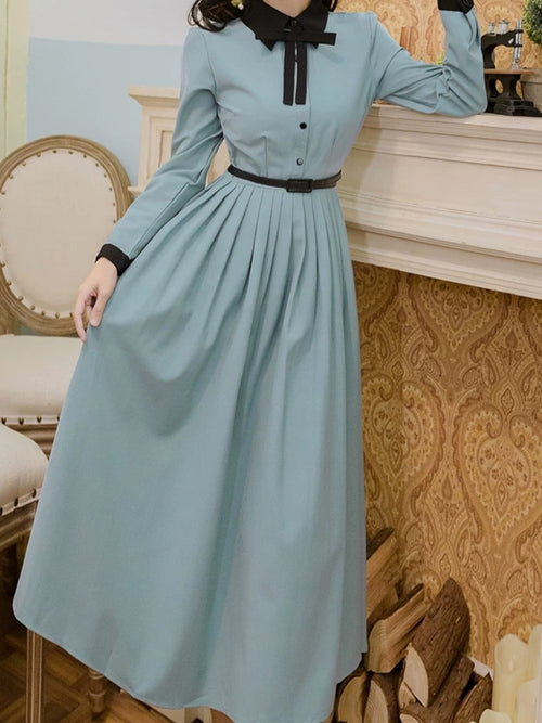 Long Sleeve Retro Lake Blue Dress (belt included)