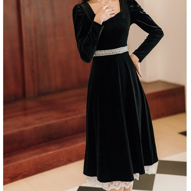 Black Velvet Tudor Princess Dress