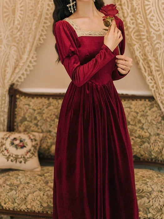 Red Velvet Tudor Style Princess Dress