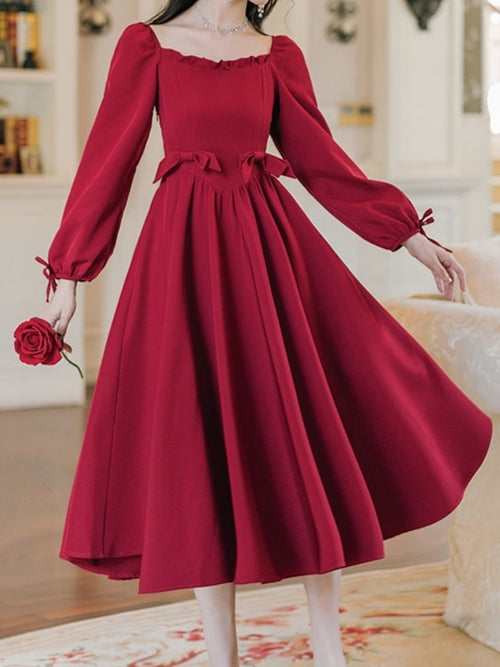 Long Sleeve Ballroom Princess Dress (Red/Black)