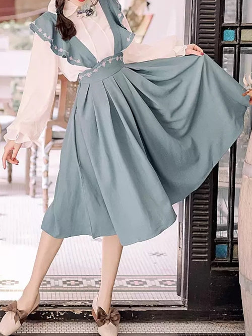 Turquoise Pinafore Dress + Blouse Set
