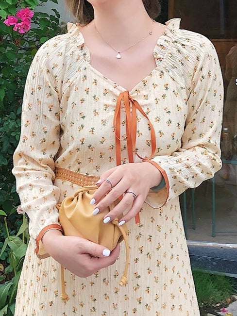 70s Style Orange Blossom Dress