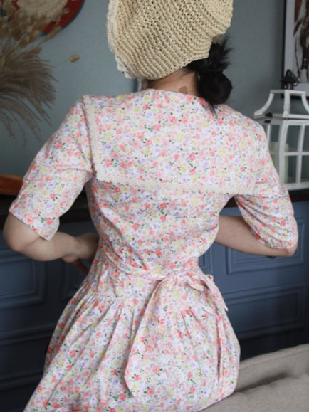 80's Laura Ashley Style Summer Floral Dress