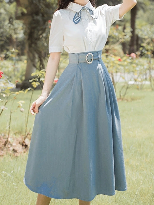 Roman Holiday by the Sea Shirt+Skirt Set