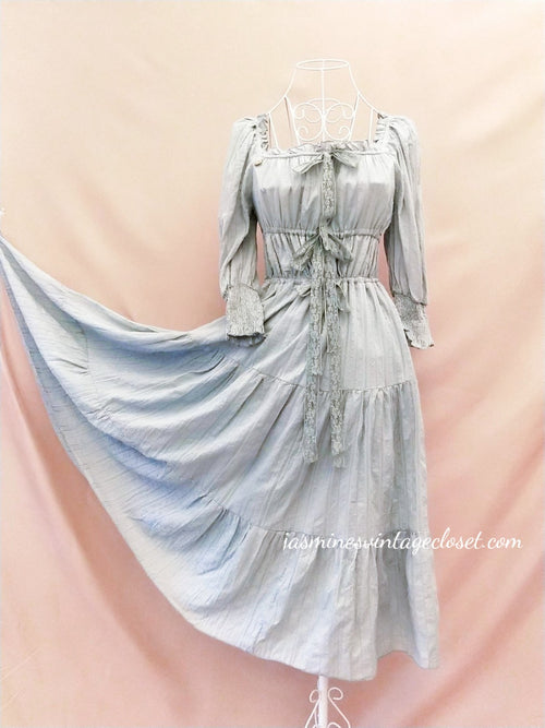 Ashy Blue Peasant Dress