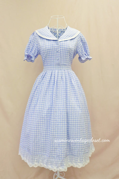 Blue Gingham Sailor Dress